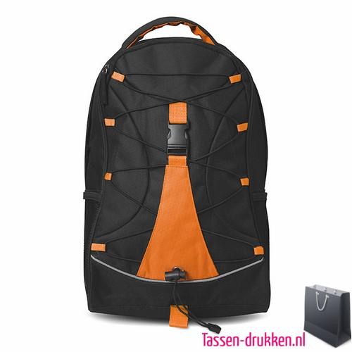 Rugzak zwart bedrukken oranje, rugzakje bedrukt, bedrukte rugzak, goedkope rugzak