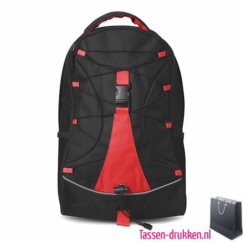 Rugzak zwart bedrukken rode, rugzakje bedrukt, bedrukte rugzak, goedkope rugzak