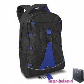 Rugzak zwart bedrukt blauw, rugzakje bedrukt, bedrukte rugzak, goedkope rugzak