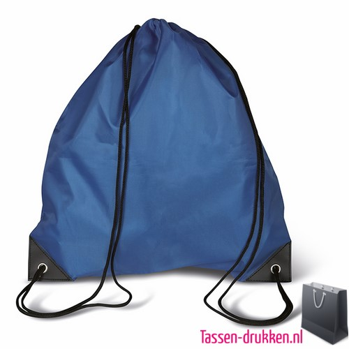 Rugzakje goedkoop bedrukken d blauw, rugzakje bedrukt, bedrukte rugzak, goedkope rugzak