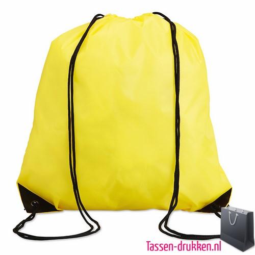 Rugzakje goedkoop bedrukken geel, rugzakje bedrukt, bedrukte rugzak, goedkope rugzak