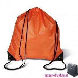 Rugzakje goedkoop bedrukken oranje, rugzakje bedrukt, bedrukte rugzak, goedkope rugzak