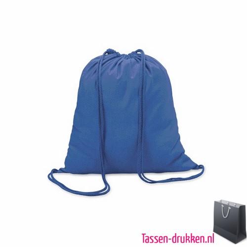Rugzakje kleur bedrukken blauw, rugzakje bedrukt, bedrukte rugzak, goedkope rugzak