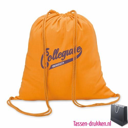 Rugzakje kleur bedrukken oranje, rugzakje bedrukt, bedrukte rugzak, goedkope rugzak