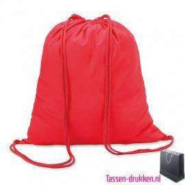 Rugzakje kleur bedrukken rood, rugzakje bedrukt, bedrukte rugzakje, goedkoop rugzakje
