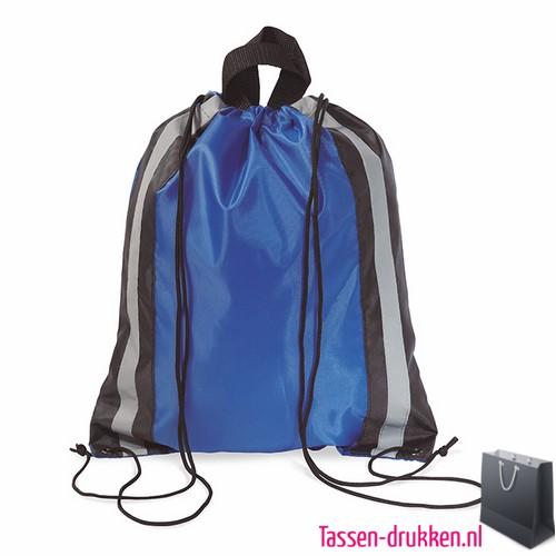 Rugzakje reflector bedrukken blauw, rugzakje bedrukt, bedrukte rugzakje, goedkoop sportrugzakje