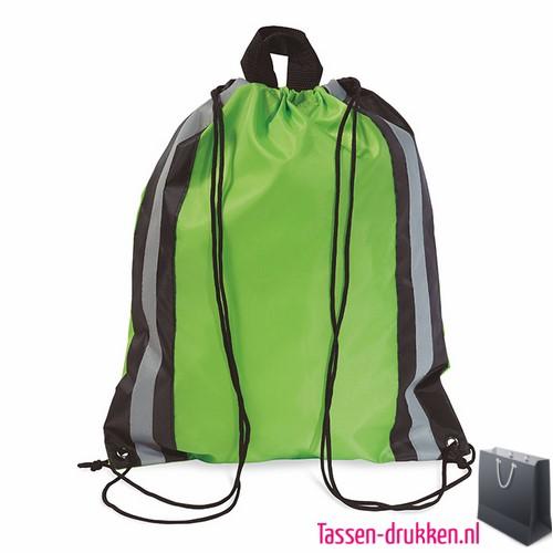 Rugzakje reflector bedrukken groen, rugzakje bedrukt, bedrukte rugzakje, goedkoop sportrugzakje
