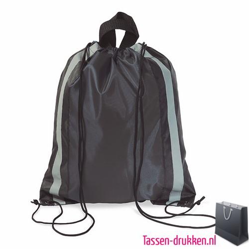 Rugzakje reflector bedrukken zwart, rugzakje bedrukt, bedrukte rugzakje, goedkoop sportrugzakje