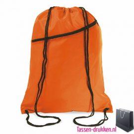 Rugzakje voorvak bedrukken oranje, rugzakje bedrukt, bedrukte rugzakje, goedkoop rugzakje