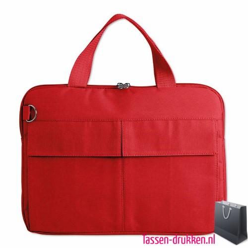 laptoptas-14-inch-zware-kwaliteit bedrukken rood goedkoop, laptoptas bedrukt, bedrukte laptoptas met logo, goedkope laptoptas
