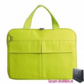 laptoptas-14-inch-zware-kwaliteit lime bedrukken goedkoop, laptoptas bedrukt, bedrukte laptoptas met logo, goedkope laptoptas