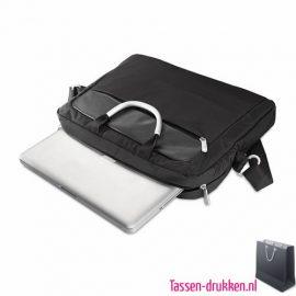 laptoptas-microvezel-liggend bedrukken werktas, laptoptas bedrukt, bedrukte laptoptas met logo, goedkope laptoptas