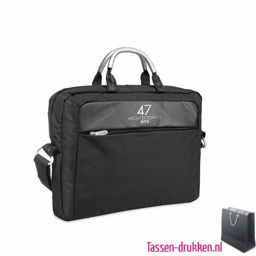 laptoptas-microvezel-liggend bedrukken zwart, laptoptas bedrukt, bedrukte laptoptas met logo, goedkope laptoptas