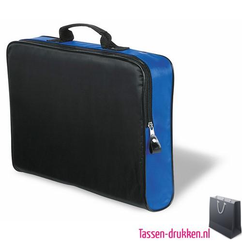 Documententas polyester bedrukken blauw, Documententas bedrukt, goedkope Documententas met logo